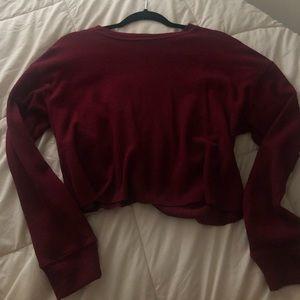 Maroon waffle knit crop top